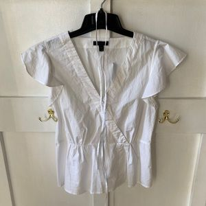 NWT Jcrew white wrap flutter sleeve top